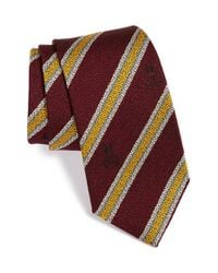 Psycho Bunny | Purple Stripe Silk & Wool Tie for Men | Lyst