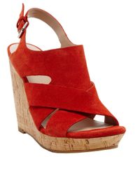 Dolce Vita | Red Tawnie Leather Slingback Wedge Sandals | Lyst