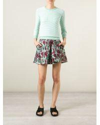 KENZO - Green Striped Cotton-Blend Sweater - Lyst