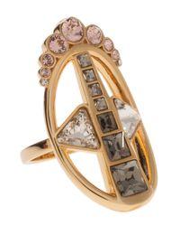 Ca&Lou - Metallic Blk Diamond Silver Rose Ring - Lyst