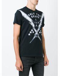 DIESEL - Black Neon Print T-shirt for Men - Lyst