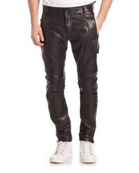 Diesel Black Gold - Black Leather Moto Pants for Men - Lyst