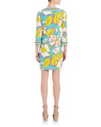 Trina turk floral print shift dress in blue lyst