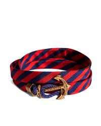 Brooks Brothers | Blue Kiel James Patrick Navy And Red Bb#5 Stripe Wrap Bracelet for Men | Lyst