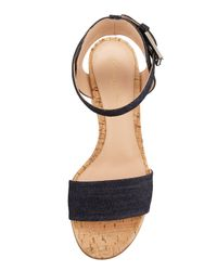 Gianvito Rossi - Black Denim Cork Block-heel Sandal - Lyst