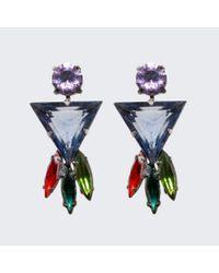 Tom Binns | Blue Faux Real Triangle Crystal Earrings | Lyst