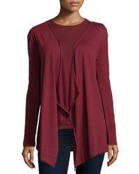 Neiman Marcus - Purple Cotton/cashmere Long-sleeve Open Cardigan - Lyst