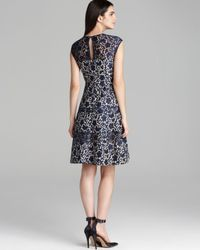 Kay Unger | Blue Fit and Flare Bonded Lace Dress Cap Sleeve | Lyst