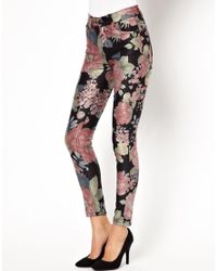 Just Female | Multicolor Skinny Jean in Dark Floral Print | Lyst