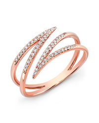 Anne Sisteron - Pink 14kt Rose Gold Diamond Spike Wrap Ring - Lyst