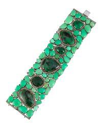 Bavna | Green Emerald & Chrysoprase Bracelet W/ Champagne Diamonds | Lyst