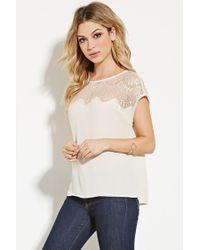 Forever 21 - White Eyelash Lace-paneled Top - Lyst