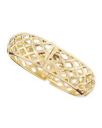 Sequin | Metallic Wide Golden Open-basketweave Bangle | Lyst