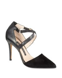 French Connection - Black Elma Point-Toe Leather And Suede Pumps - Lyst