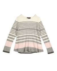 Vince - Gray Long-sleeve Striped Jersey Tunic - Lyst
