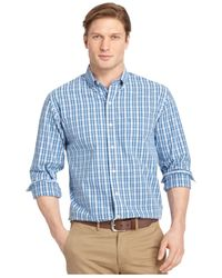 Izod | Blue Big And Tall Plaid Long-sleeve Shirt for Men | Lyst