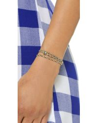 Sogoli - Metallic Stone Wrap Chain Bracelet - Gold/aqua - Lyst