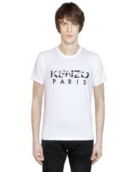 KENZO | White Cotton T-shirt With Printed Logo Patches for Men | Lyst