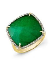 Anne Sisteron - 14kt Yellow Gold Green Agate Diamond Triplet Cushion Cut Cocktail Ring - Lyst