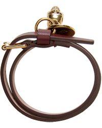 Alexander McQueen | Purple Burgundy Double-wrap Leather Bracelet | Lyst