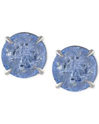 Vince Camuto | Blue Silver-tone Crackle Stone Round Stud Earrings | Lyst