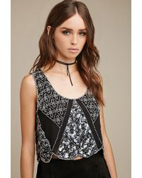 Forever 21 | Black Raga Floral Beaded Crop Top | Lyst