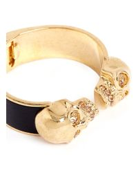 Alexander McQueen | Metallic Double Skull Leather Bangle | Lyst