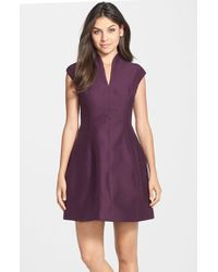 Halston - Red V-neck Faille Fit & Flare Dress - Lyst