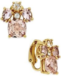 Kate Spade | Metallic Gold-tone Pink Cluster Stud Earrings | Lyst