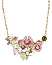 Betsey Johnson - Pink Crystal Flower Bug Pendant Cluster Necklace - Lyst