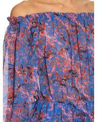 Saloni - Blue Elisa Off-the-shoulder Chinoiserie-print Dress - Lyst