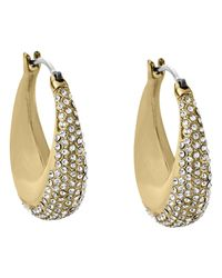 Michael Kors | Metallic Golden Pave Hoop Earrings | Lyst