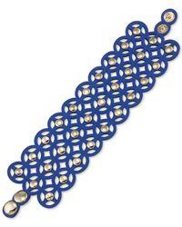 Carolee | Gold-tone Faux Blue Suede Bracelet | Lyst