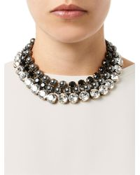 Gucci - Gray Crystal and Fauxpearl Tiered Necklace - Lyst