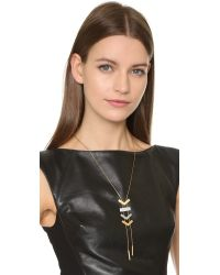 Madewell | Metallic Triangle Lariat Necklace - Worn Gold | Lyst