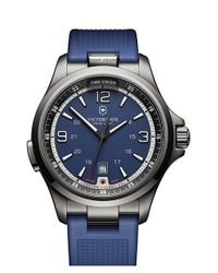 Victorinox | Blue Chronograph Leather Strap Watch for Men | Lyst