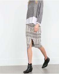 Zara | Black Jacquard Skirt | Lyst