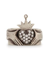 Irit Design - Metallic Modern Winged Claddagh Band Ring With Diamonds - Lyst