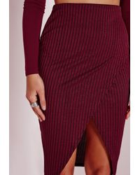 Missguided - Purple Ribbed Wrap Midi Skirt Burgundy - Lyst