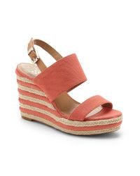 Vince Camuto | Pink Loran- Striped Wedge Espadrille | Lyst