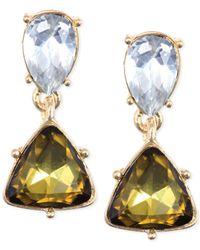 Anne Klein - Metallic Gold-Tone Khaki Crystal Drop Earrings - Lyst