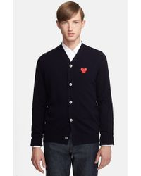Comme des Garçons | Blue 'play' Wool Cardigan With Heart Applique for Men | Lyst