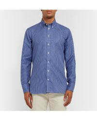 Turnbull & Asser | Blue Button-Down Collar Micro-Paisley Print Cotton-Voile Shirt for Men | Lyst