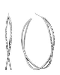 Michael Kors | Metallic Pavé Criss Cross Hoop Earrings | Lyst