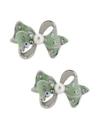 Betsey Johnson | Metallic Silvertone Embellished Bow Stud Earrings | Lyst