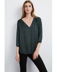 Velvet By Graham & Spencer | Green Traze Satin Popover | Lyst