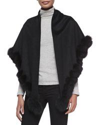 Sofia Cashmere   Black Whip-stitch Fox Fur Shawl   Lyst