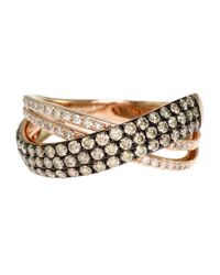Effy | Pink 14kt. Rose Gold Brown And White Diamond Crossover Ring | Lyst