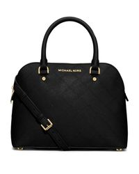 MICHAEL Michael Kors - Black Cindy Medium Topstitched Saffiano Leather Satchel - Lyst