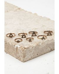 Forever 21 - Metallic Triangle Midi Ring Set - Lyst